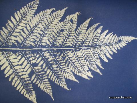 fern print blue